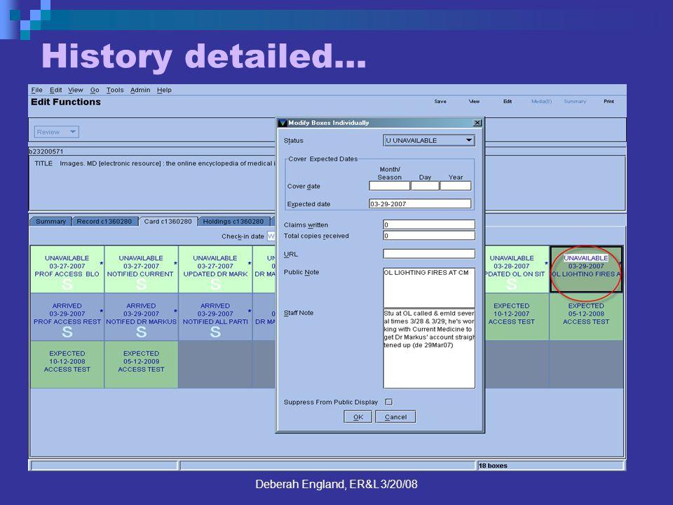 Deberah England, ER&L 3/20/08 History detailed…