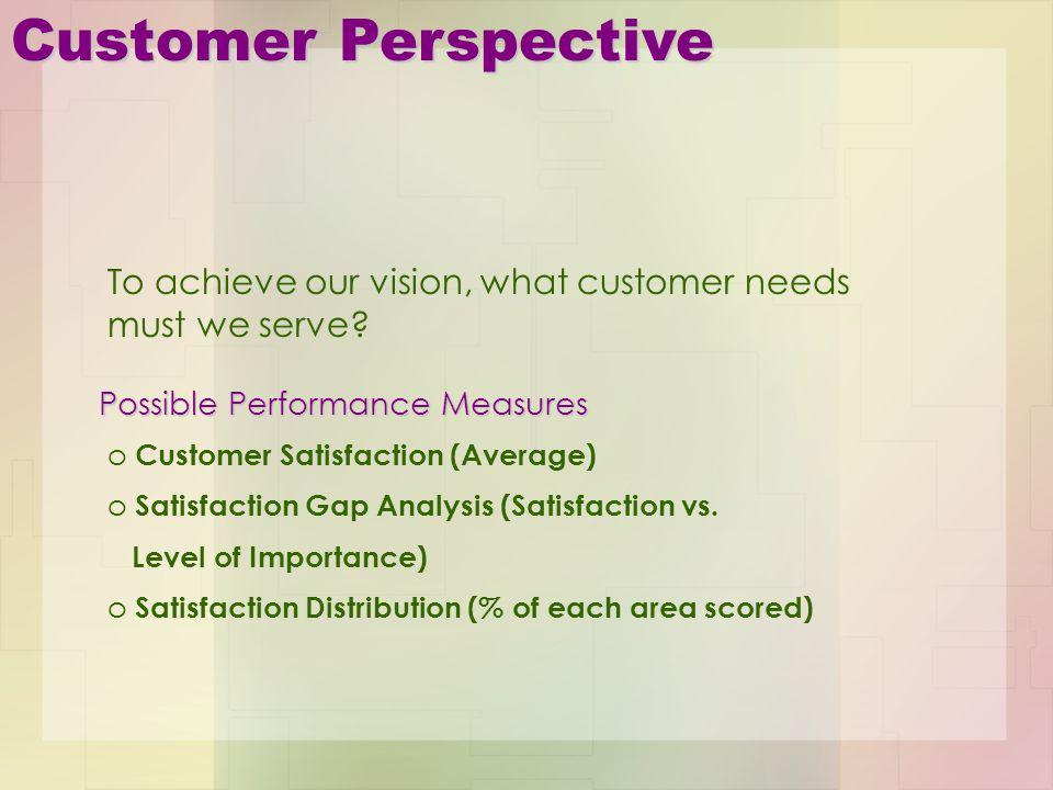 Customer Perspective o Customer Satisfaction (Average) o Satisfaction Gap Analysis (Satisfaction vs. Level of Importance) o Satisfaction Distribution