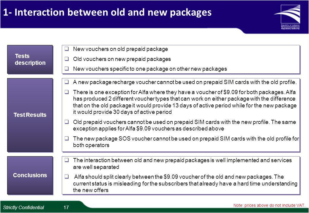 1- Interaction between old and new packages Note: prices above do not include VAT.