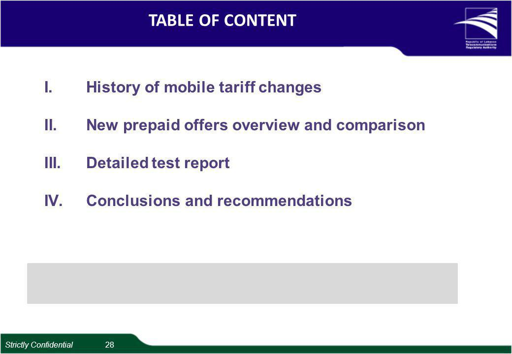 TABLE OF CONTENT I.History of mobile tariff changes II.New prepaid offers overview and comparison III.Detailed test report IV.Conclusions and recommendations Strictly Confidential 28