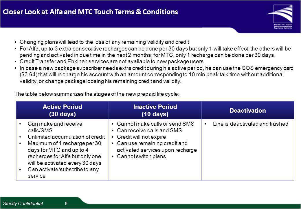 Closer Look at Alfa and MTC Touch Terms & Conditions Changing plans will lead to the loss of any remaining validity and credit For Alfa, up to 3 extra consecutive recharges can be done per 30 days but only 1 will take effect, the others will be pending and activated in due time in the next 2 months; for MTC, only 1 recharge can be done per 30 days.