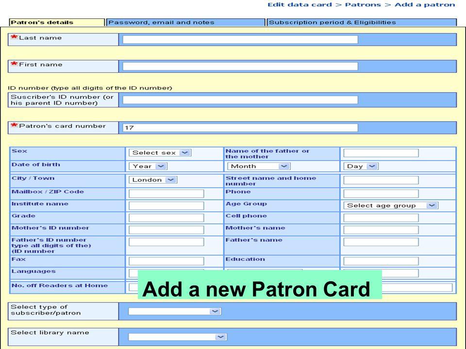Add a new Patron Card