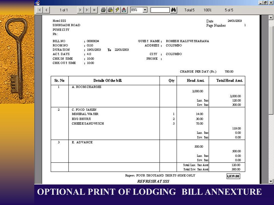 OPTIONAL PRINT OF LODGING BILL ANNEXTURE