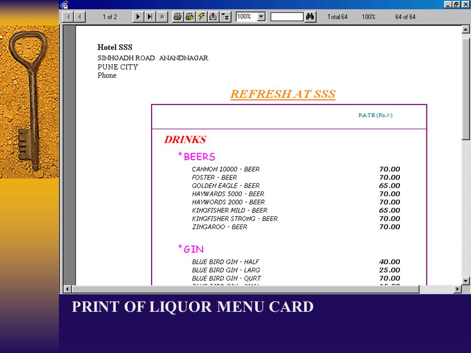 PRINT OF LIQUOR MENU CARD