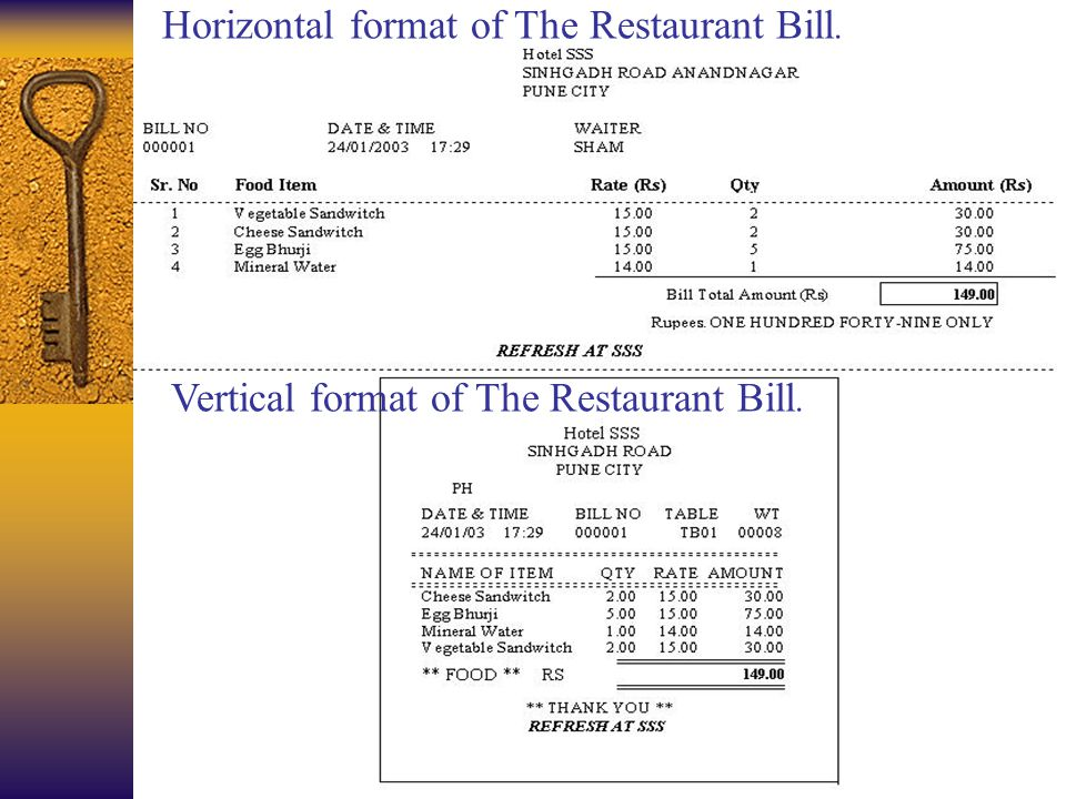 Horizontal format of The Restaurant Bill. Vertical format of The Restaurant Bill.