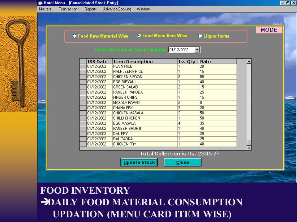 FOOD INVENTORY DAILY FOOD MATERIAL CONSUMPTION UPDATION (MENU CARD ITEM WISE)