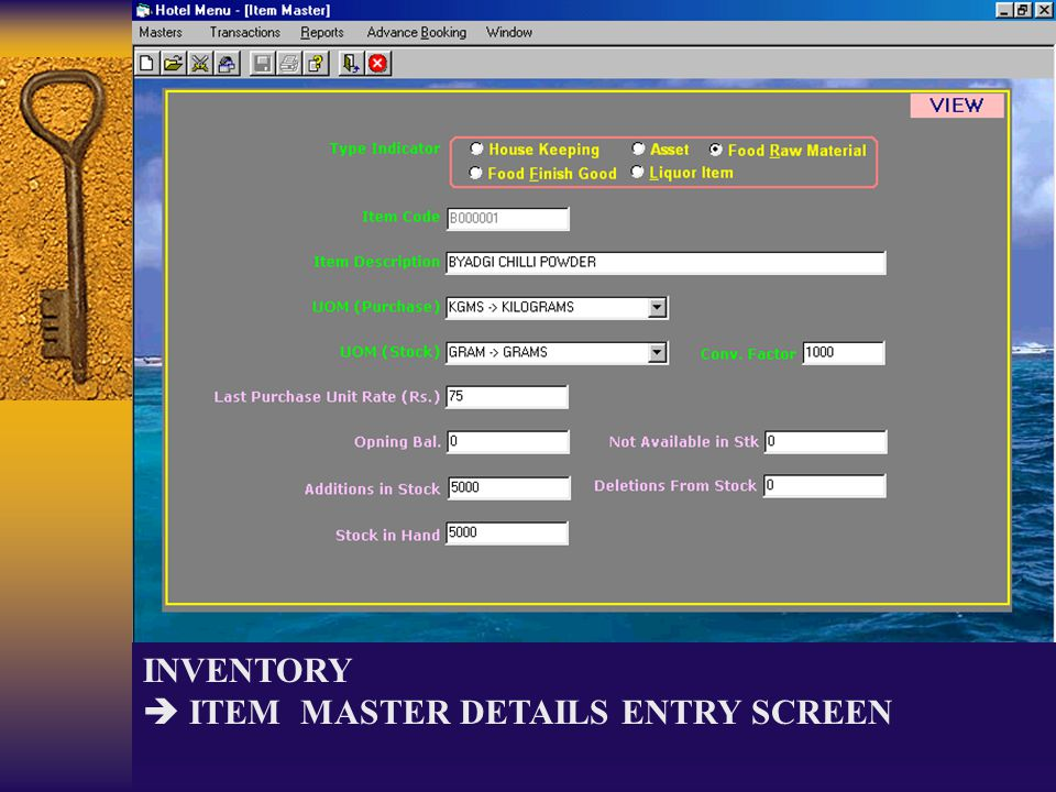 INVENTORY ITEM MASTER DETAILS ENTRY SCREEN