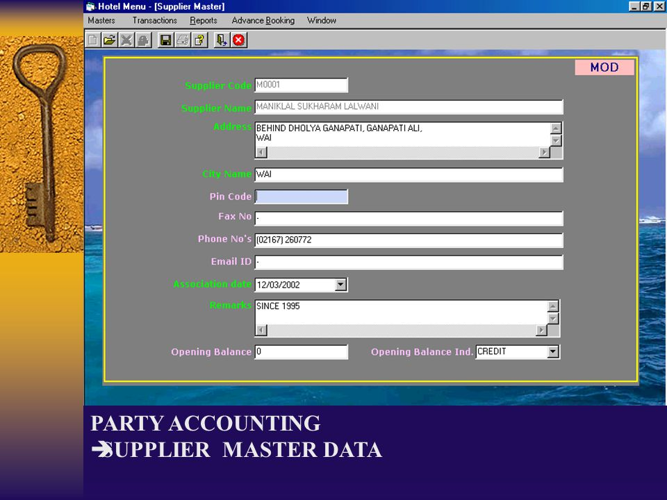 PARTY ACCOUNTING SUPPLIER MASTER DATA