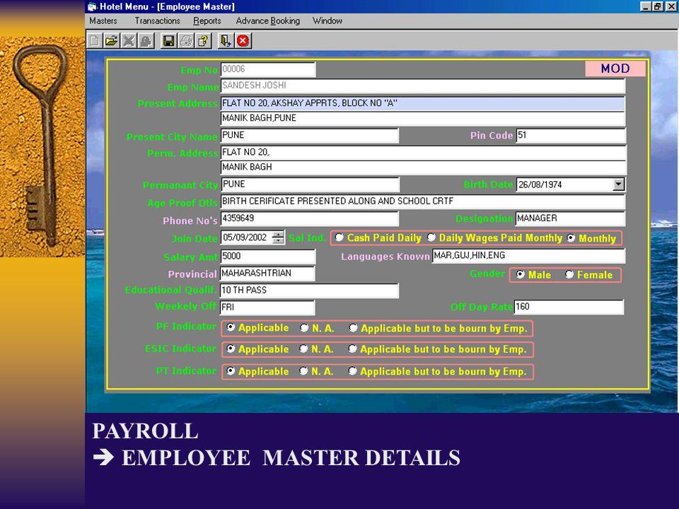 PAYROLL EMPLOYEE MASTER DETAILS