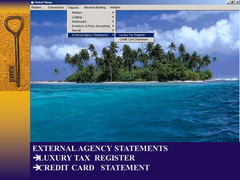 EXTERNAL AGENCY STATEMENTS LUXURY TAX REGISTER CREDIT CARD STATEMENT