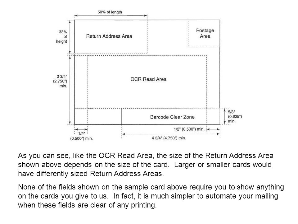 As you can see, like the OCR Read Area, the size of the Return Address Area shown above depends on the size of the card. Larger or smaller cards would