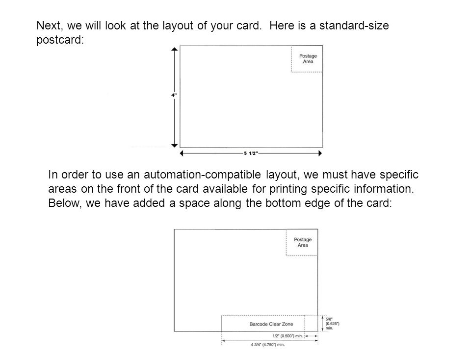 Next, we will look at the layout of your card. Here is a standard-size postcard: In order to use an automation-compatible layout, we must have specifi
