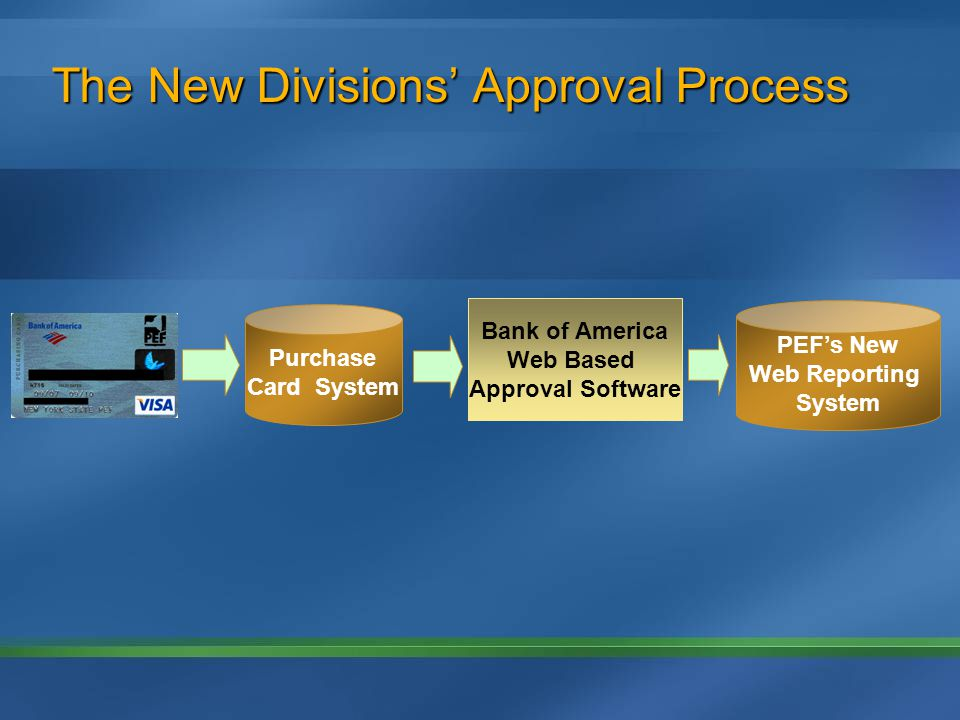 The New Divisions Approval Process Bank of America Web Based Approval Software Purchase Card System PEFs New Web Reporting System