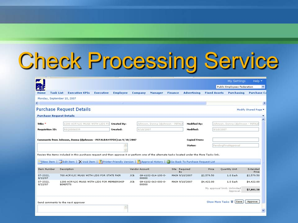 Check Processing Service
