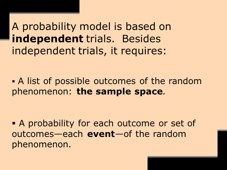 A probability model is based on independent trials. Besides independent trials, it requires: A list of possible outcomes of the random phenomenon: the