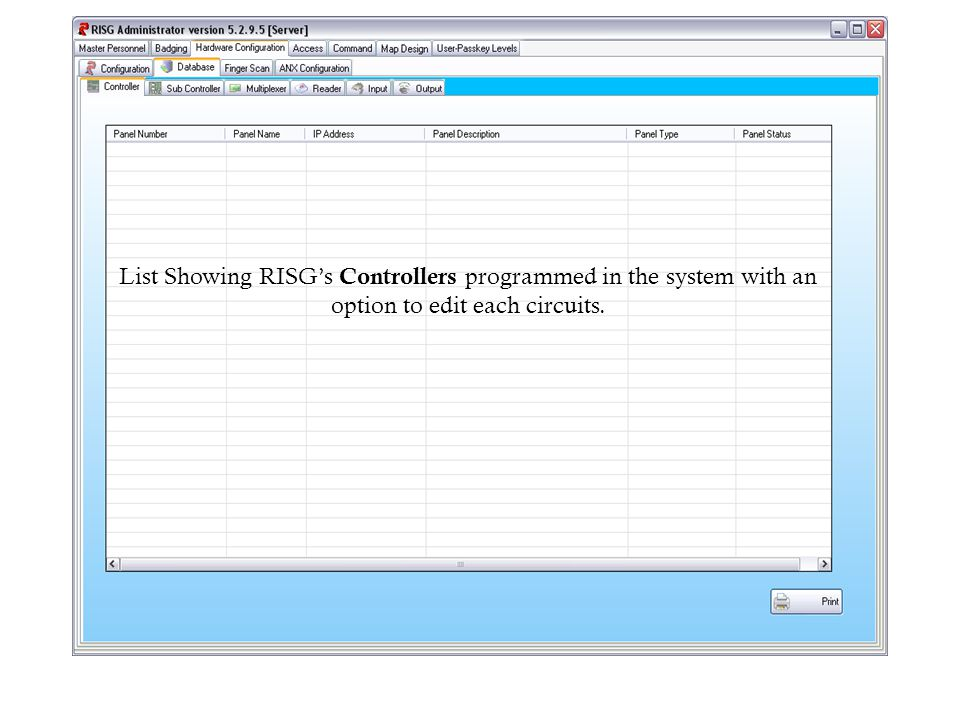 List Showing RISGs Controllers programmed in the system with an option to edit each circuits.