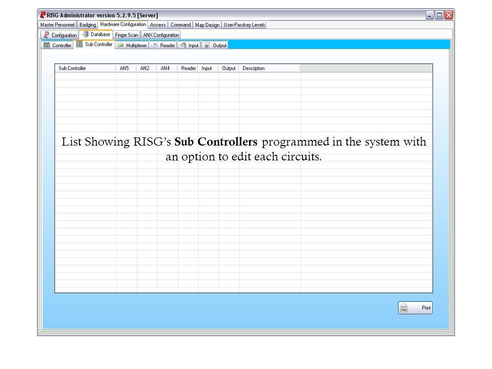 List Showing RISGs Sub Controllers programmed in the system with an option to edit each circuits.