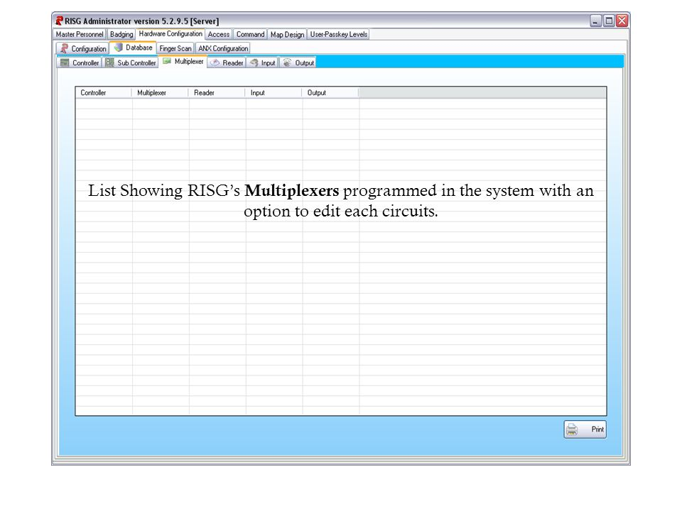 List Showing RISGs Multiplexers programmed in the system with an option to edit each circuits.