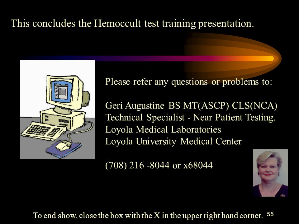 54 HemoccultTraining checklist with documentation on back. Hemoccult Cards for Fecal Occult Blood