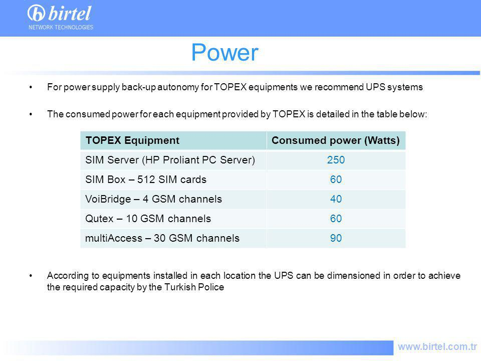 www.birtel.com.tr Power consume For power supply back-up autonomy for TOPEX equipments we recommend UPS systems The consumed power for each equipment