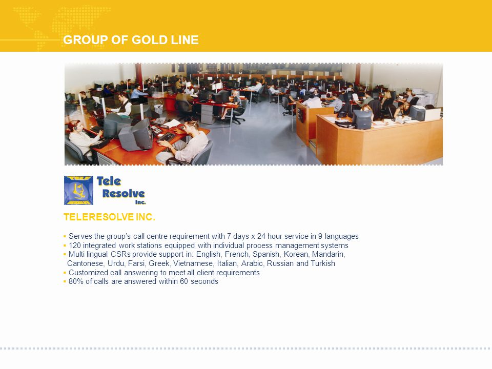 GROUP OF GOLD LINE TELERESOLVE INC.