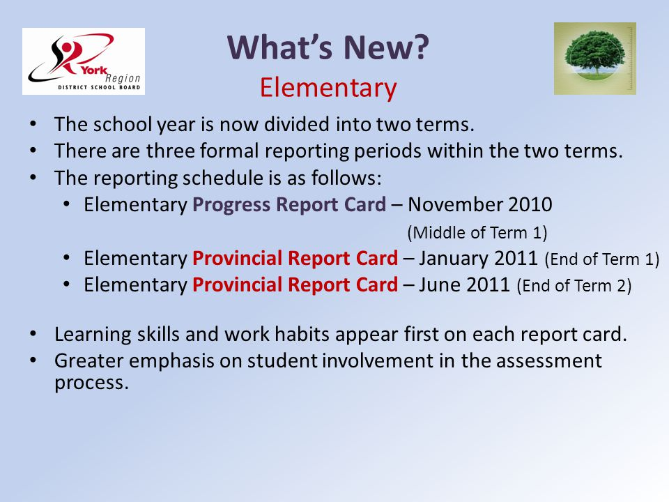 Whats New? Elementary The school year is now divided into two terms. There are three formal reporting periods within the two terms. The reporting sche