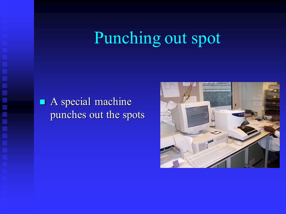 Punching out spot A special machine punches out the spots A special machine punches out the spots