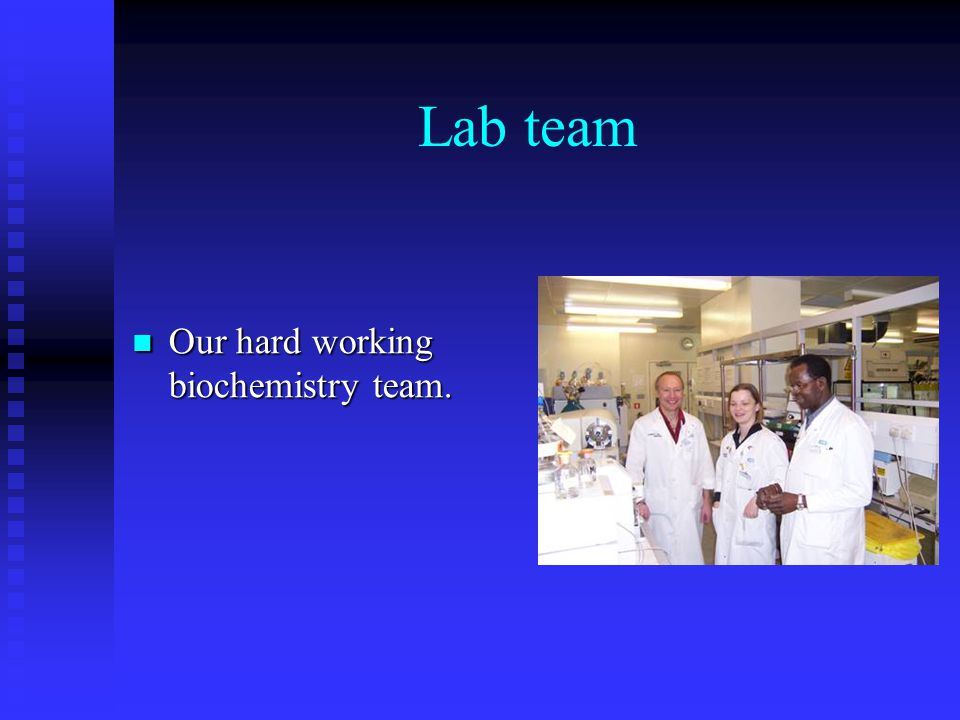 Lab team Our hard working biochemistry team. Our hard working biochemistry team.