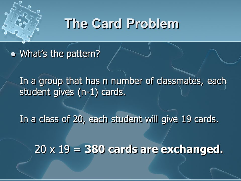 The Card Problem Whats the pattern.