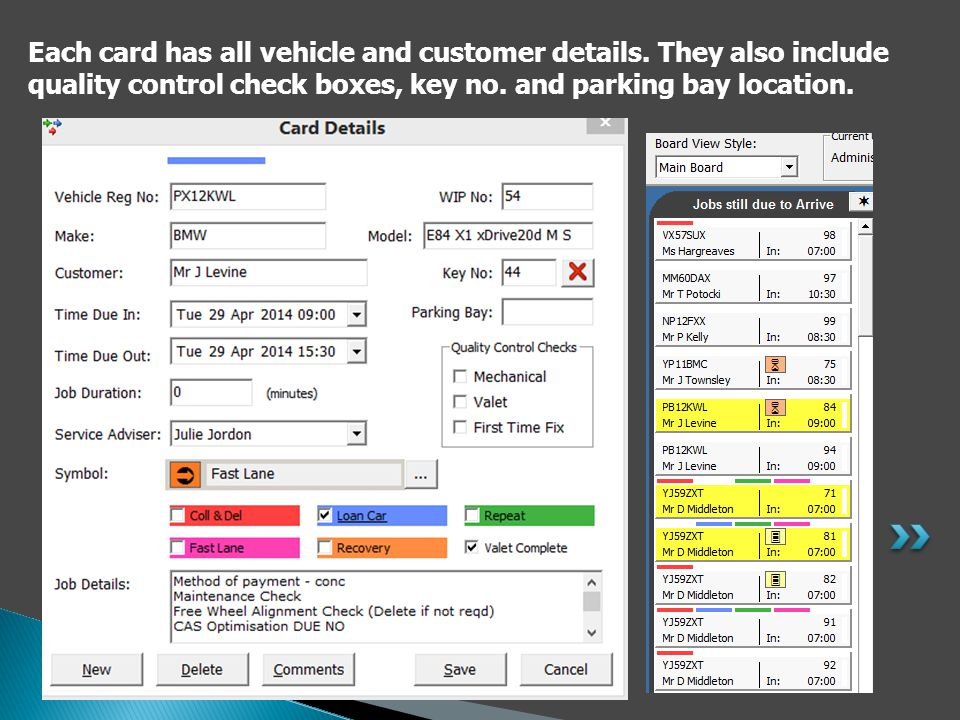 Each card has all vehicle and customer details.
