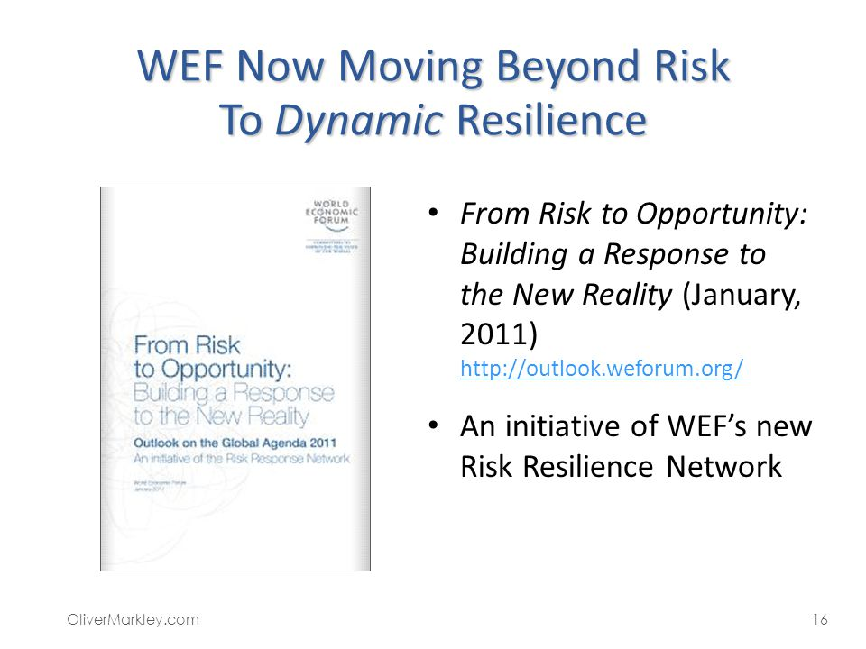 WEF Now Moving Beyond Risk To Dynamic Resilience From Risk to Opportunity: Building a Response to the New Reality (January, 2011) http://outlook.wefor
