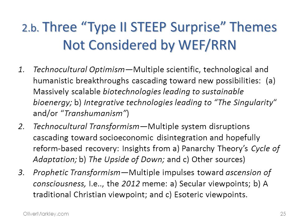 2.b. Three Type II STEEP Surprise Themes Not Considered by WEF/RRN 1.Technocultural OptimismMultiple scientific, technological and humanistic breakthr
