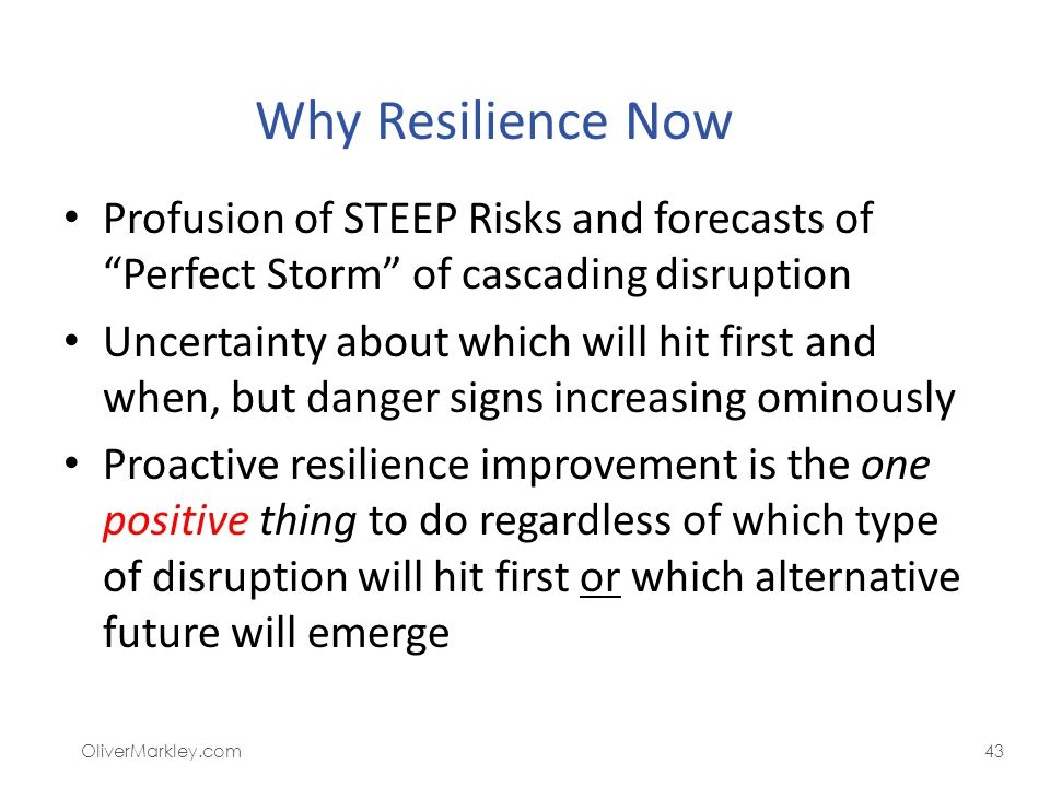 Summary: Why Resilience Is Now a Critical Need Profusion of STEEP Risks and forecasts of Perfect Storm of cascading disruption Uncertainty about which