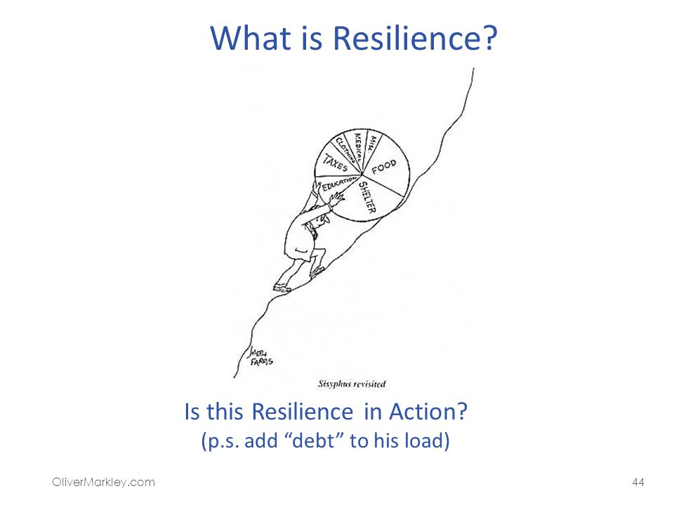 What is Resilience? OliverMarkley.com44 Is this Resilience in Action? (p.s. add debt to his load)