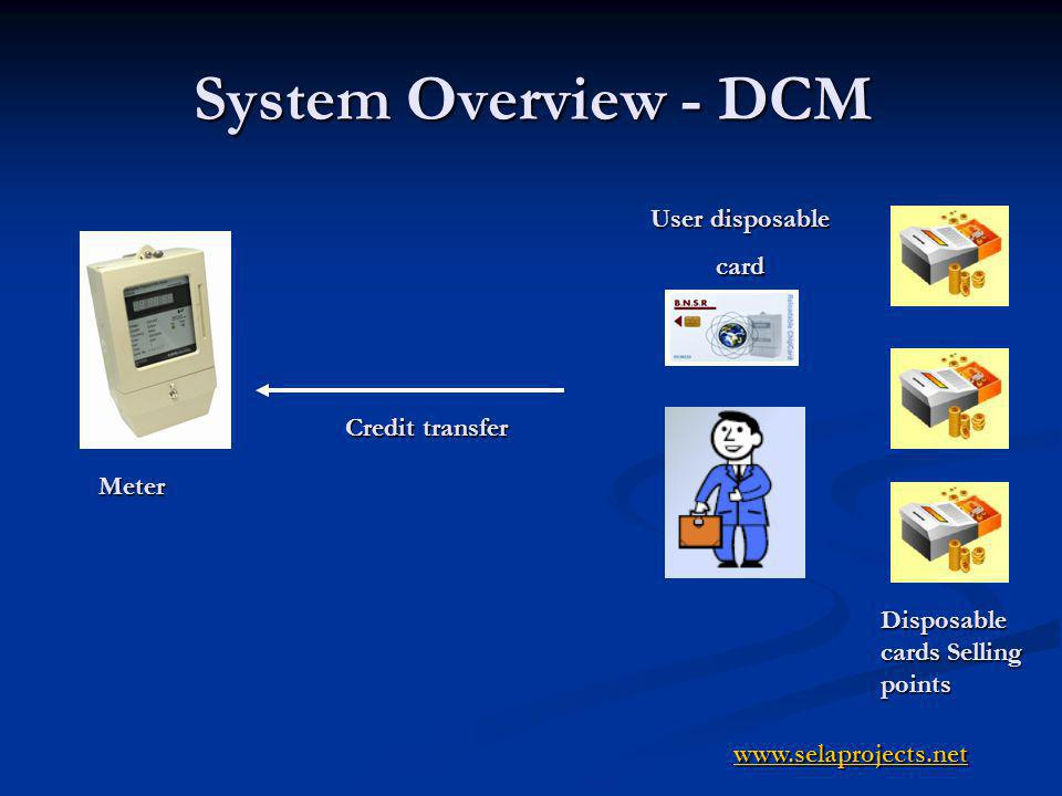 System Overview IR water meter Vending Stations User Card Meter Credit transfer Data transfer Credit transfer Technician IR tool to define meter,read meter, etc www.selaprojects.net