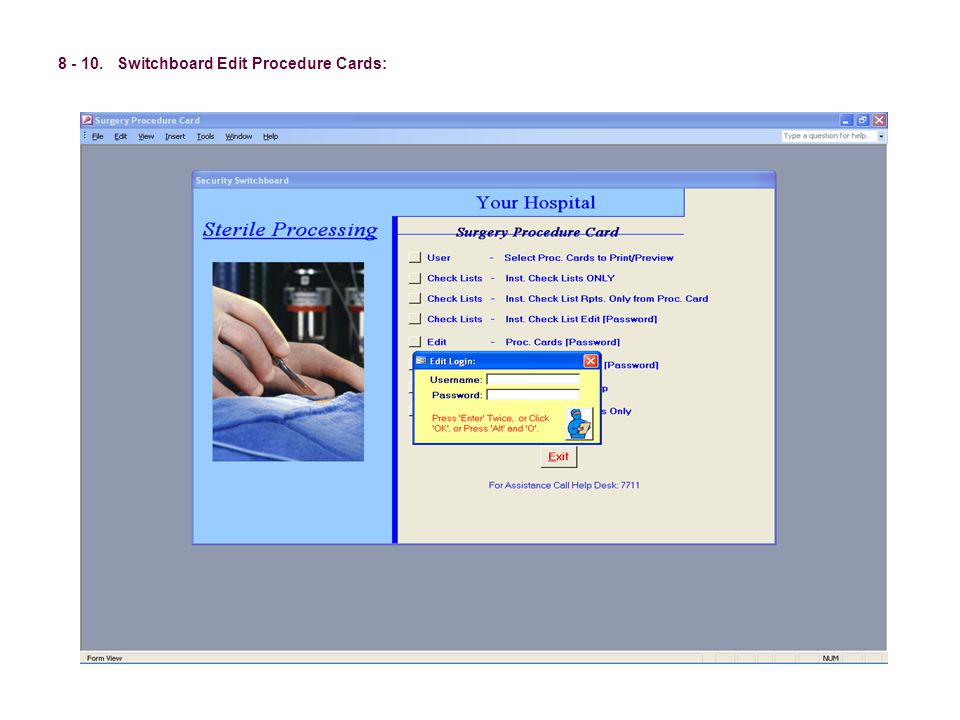 8 - 10. Switchboard Edit Procedure Cards:
