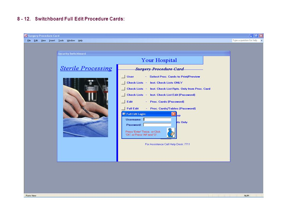 8 - 12. Switchboard Full Edit Procedure Cards: