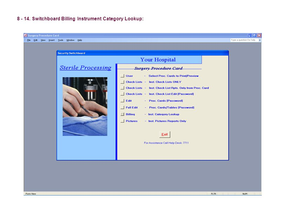 8 - 14. Switchboard Billing Instrument Category Lookup: