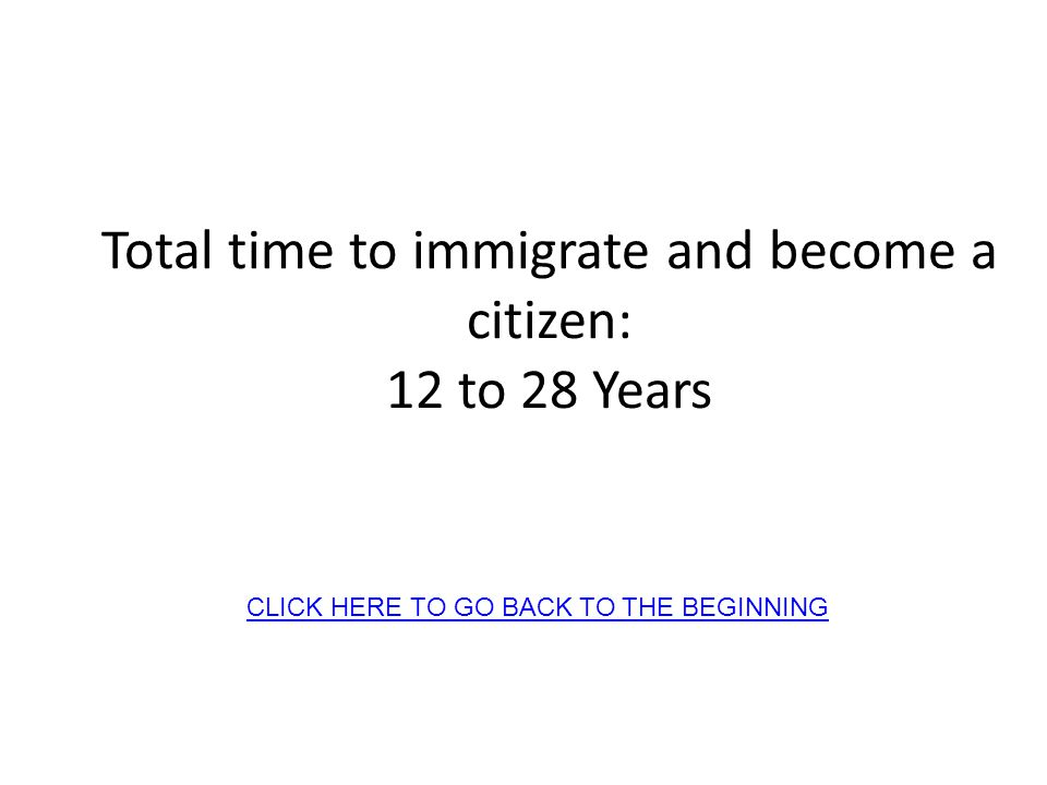 Total time to immigrate and become a citizen: 12 to 28 Years CLICK HERE TO GO BACK TO THE BEGINNING