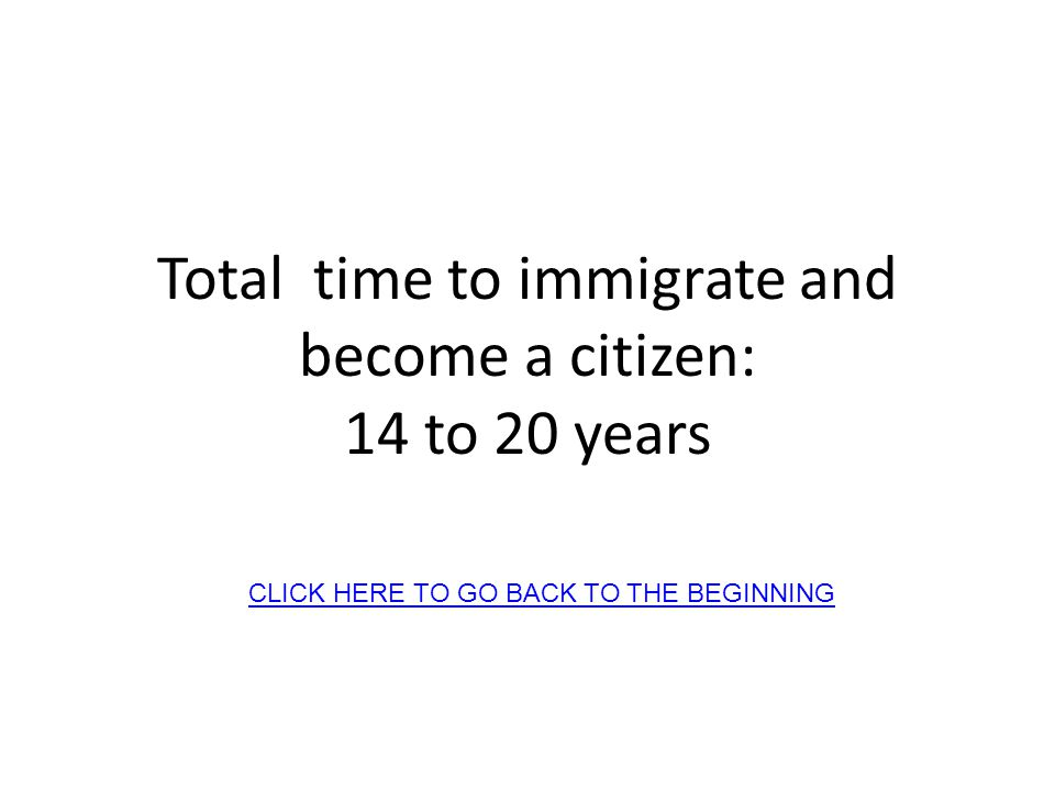 Total time to immigrate and become a citizen: 14 to 20 years CLICK HERE TO GO BACK TO THE BEGINNING