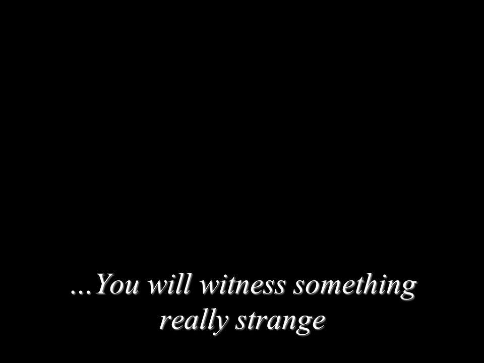 …You will witness something really strange