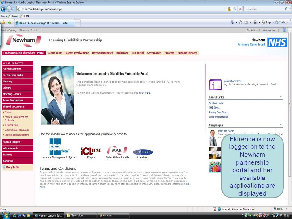 Florence is now logged on to the Newham partnership portal and her available applications are displayed