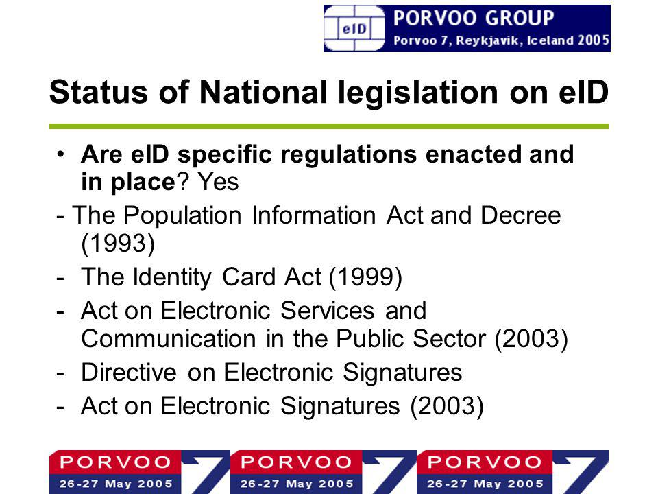 Status of National legislation on eID Are eID specific regulations enacted and in place.