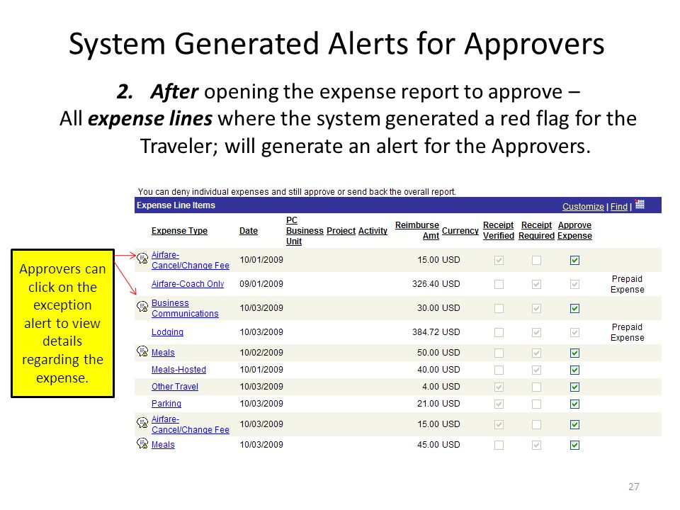 System Generated Alerts for Approvers Approvers and Auditors have two opportunities to see exception alerts 1.Prior to opening the expense report for