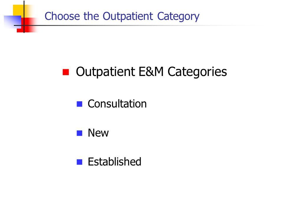 Choose the Outpatient Category Outpatient E&M Categories Consultation New Established
