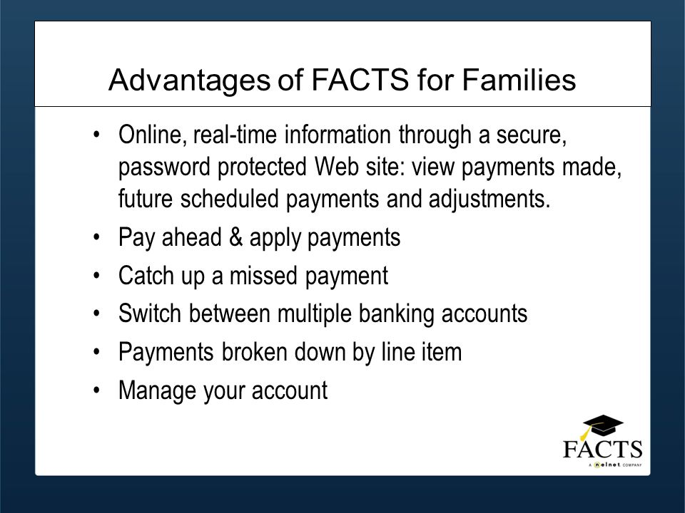 Online, real-time information through a secure, password protected Web site: view payments made, future scheduled payments and adjustments.