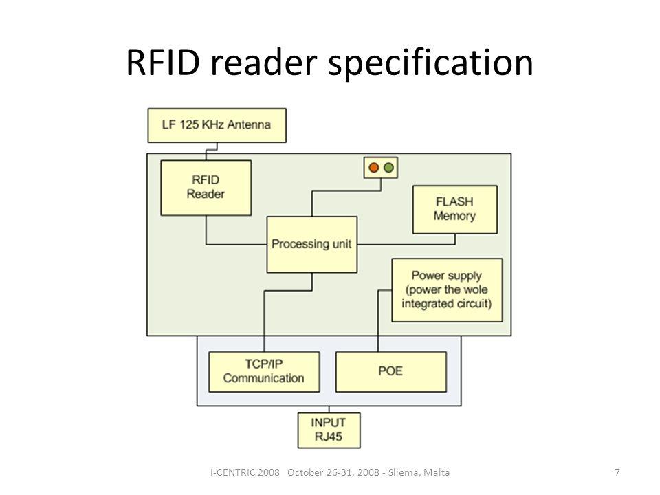 RFID reader specification 7I-CENTRIC 2008 October 26-31, 2008 - Sliema, Malta