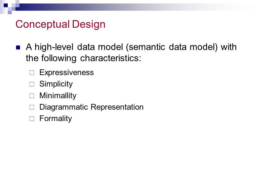 Conceptual Design A high-level data model (semantic data model) with the following characteristics: Expressiveness Simplicity Minimallity Diagrammatic