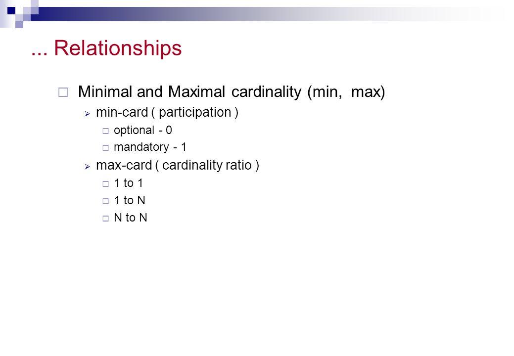 ... Relationships Minimal and Maximal cardinality (min, max) min-card ( participation ) optional - 0 mandatory - 1 max-card ( cardinality ratio ) 1 to