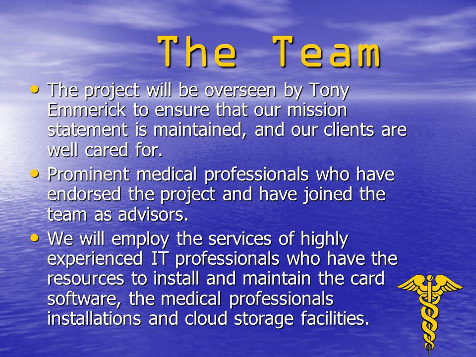 The Team The project will be overseen by Tony Emmerick to ensure that our mission statement is maintained, and our clients are well cared for.